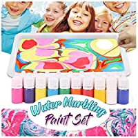 Fine Marbling Art Paint Kit, 6 Bottles Marbling Inks, DIY Art of Painting on Water Creative Toys & Gifts, Arts and Crafts Paint Set