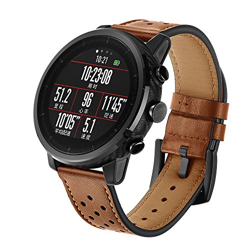 (Cywulin for Xiaomi Huami Amazfit Stratos 2 and 2S Band, 22mm Genuine Leather Replacement Smartwatch Wristband Accessories for Women Men Amazfit Bip BIT PACE Samsung Galaxy Watch 46mm Gear S3 (Brown))