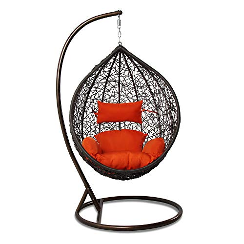 - Island Gale Hanging Basket Chair Outdoor Front Porch Furniture with Stand and Cushion (Brown Wicker, Orange Cushion)