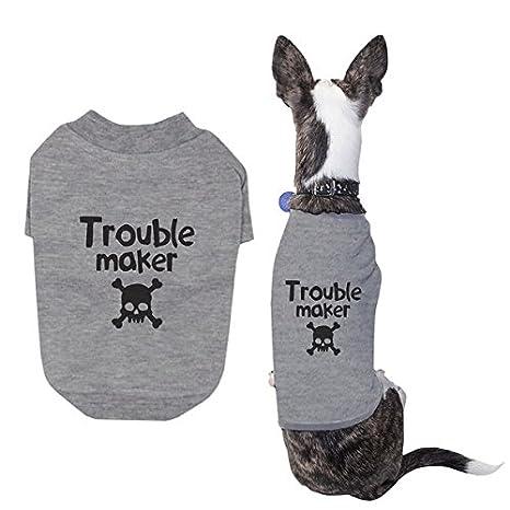 Amor pequeño perro Trouble Maker gamuza de camiseta de perro ...