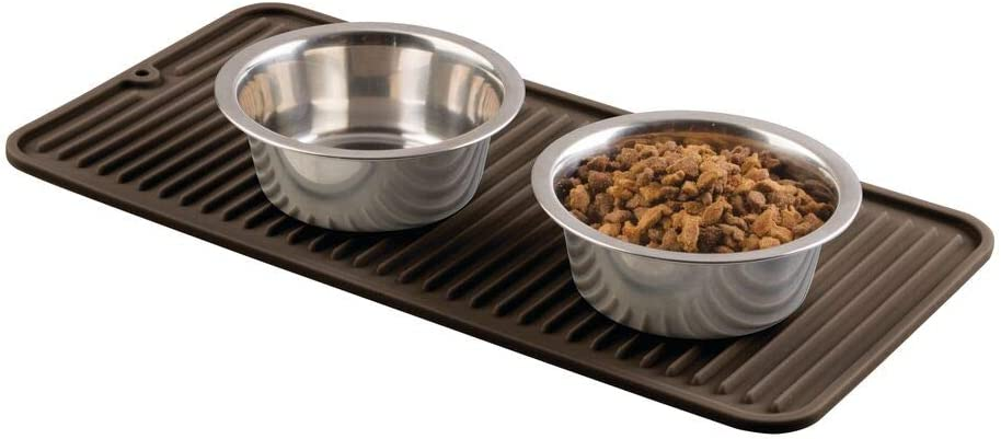 mDesign Premium Quality Pet Food and Water Bowl Feeding Mat for Dogs and Puppies - Waterproof Non-Slip Durable Silicone Placemat - Raised Edges, Food Safe, Non-Toxic - Small - Espresso Brown