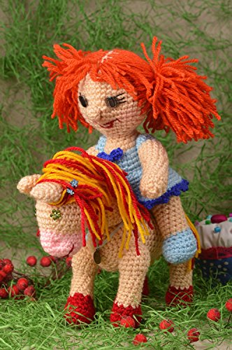 (Handmade Doll Designer Doll Unusual Gift for Baby Nursery Decor Crocheted Doll)