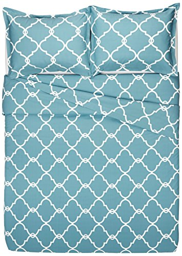 Pinzon 300-Thread-Count 100% Cotton Cool Percale Duvet Cover Set, Full/Queen, Spa Blue by Pinzon by Amazon (Image #3)