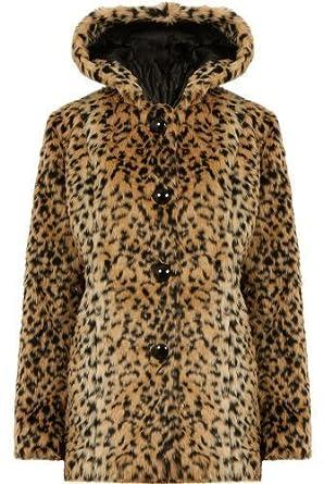 79f01b0711490 U65 NEW WOMENS LADIES ANIMAL PRINT FAUX FUR HOODED JACKET HOODY COAT IN  08-16. (S M (UK 08-10)