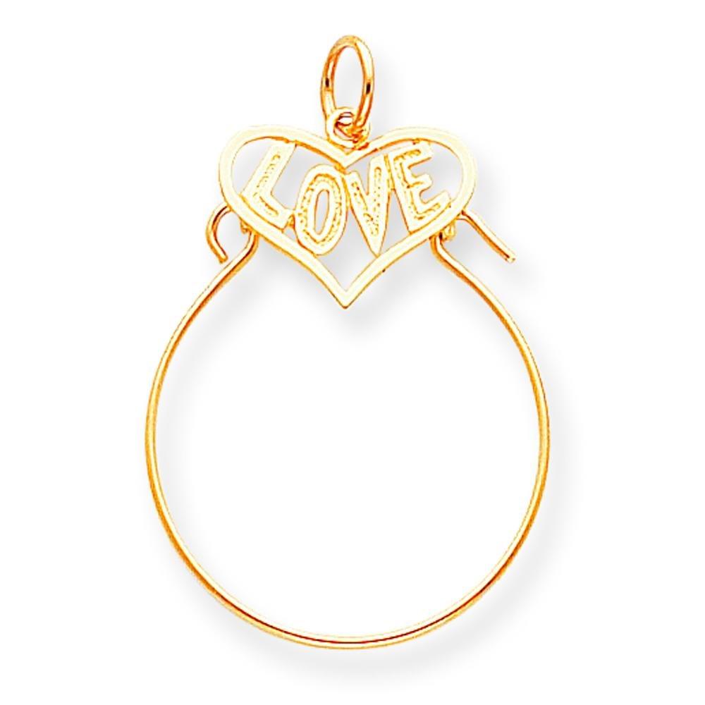 10K Yellow Gold Love in Heart Charm Holder Pendant
