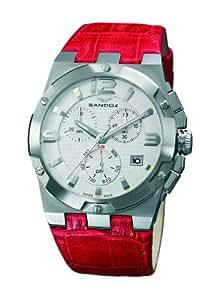 Sandoz 81258-00 - Reloj de mujer de cuarzo, correa de piel color rojo