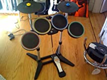 wii rock band 2 wireless drum set with dongle black drum heads green yellow. Black Bedroom Furniture Sets. Home Design Ideas