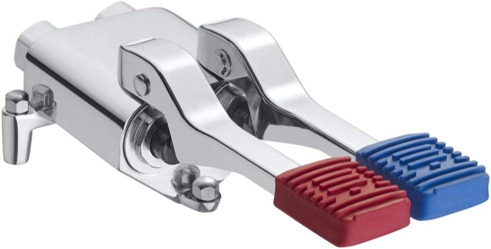 Mezclador grifo temporizado de pedal, instalación a suelo, accionamiento con el pie, serie Instant foot, 11 x 7,5 x 23 centímetros, color cromado (Referencia: A505128600)