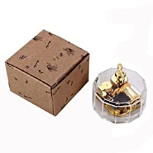YouTang(TM) Polygon Creative Transparent Acrylic 18-note Wind-up Musical Box,Musical Toys,Tune:Frozen Let it Go,Clear