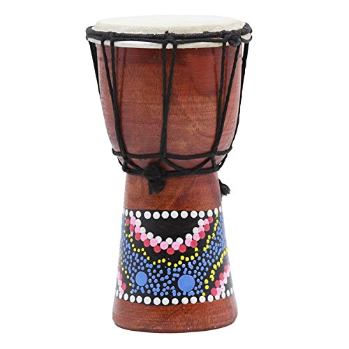 SODIAL 4 Inch African Drum Percussion Kid Toy Classic Painted Wooden African Style Hand Drum For Children Toys by SODIAL