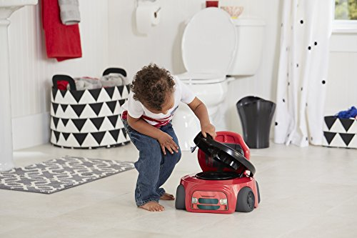 The First Years Training Wheels Racer Potty System | Encourage Your Potty Training Toddler | Easy to Clean Design | Handles Help Child Feel Secure | Includes Transitional Toilet Trainer