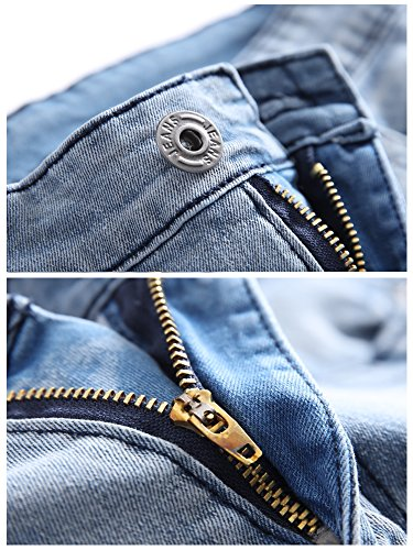 Boy's Ripped Skinny Jeans Destroyed Stretch Slim Distressed Pants Light Blue 8 by JeansNiu (Image #3)