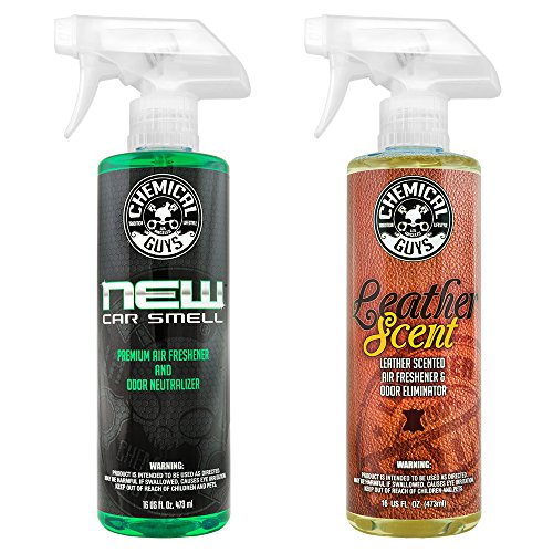Chemical Guys AIR_300 New Car Scent and Leather Scent Combo Pack (16 oz) (2 Items) New Car Scent