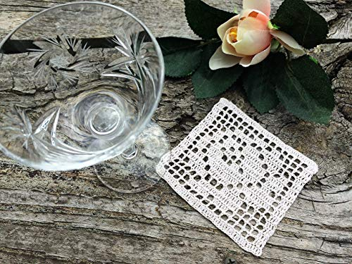 4 Drink Coasters. Crochet Lace Doily. Lace Drink Coaster. Small Square Vintage Lace Doily. Crochet Drink Coaster. Filet Crochet Lace Doily or Coaster with Free Shipping RBT2802 ()