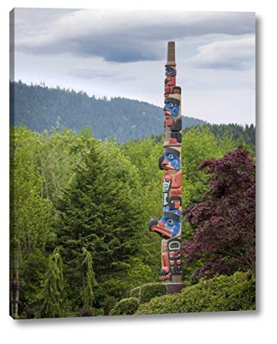 """USA, Washington State, Jamestown Totem Art PR -15 by Don Paulson - 15"""" x 19"""" Gallery Wrapped Giclee Canvas Print - Ready to Hang"""