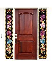 Cartel de pórtico con diseño de calavera de azúcar, día de los muertos, día de fiesta mexicana, para colgar en la pared, decoración de fiesta