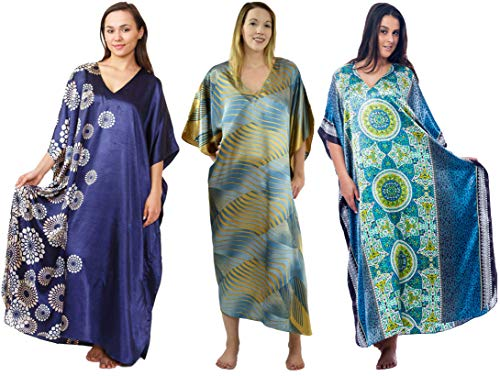 Satin Caftan/Kaftan Combo, 3 Caftans with Blue Shades, Special#11, One Size