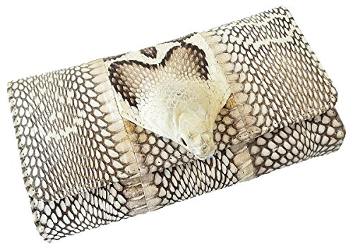 Authentic Snake Skin Women's Long Bifold Cobra Snake W/Head Purse Wallet - Snake Long Wallet