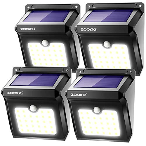 ZOOKKI Solar Lights Outdoor, 28 LED Wireless Motion Sensor Lights, IP65 Waterproof Wall Light Easy-to-Install Security Lights for Outdoor Garden, Patio, Yard, Deck, Garage, Driveway, Fence 4 Pack]()
