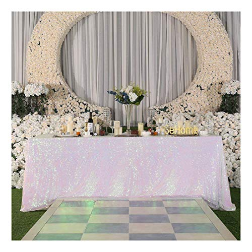 Poise3EHome 50×72'' Rectangle Sequin Tablecloth for Party Cake Dessert Table Exhibition Events, Iridescent ()