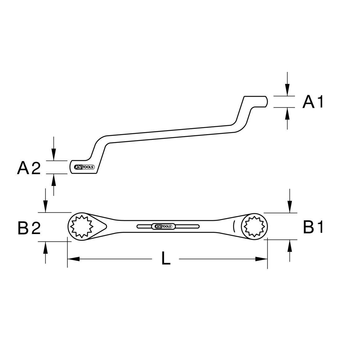 gekr/öpft 27x30mm KS Tools 517.0859 CLASSIC Doppel-Ringschl/üssel