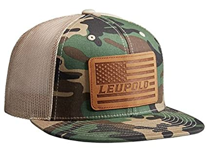 1fe72a5cdb0 Image Unavailable. Image not available for. Color  Leupold  511 Leather  Flag Flat Bill Trucker Hat