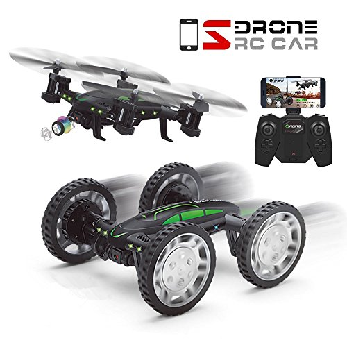 Qqpow Fpv Rc Drone With 3D Flip With Hd Camera Live Video  Remote Control Car For Kids Adults  2 In 1 Wifi Quadcopter Toy 360  Flip Headless Mode  650Mah Batteries