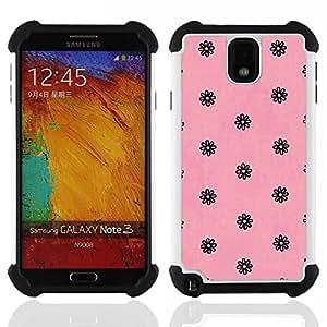 """SAMSUNG Galaxy Note 3 III / N9000 / N9005 - 3 en 1 impreso colorido de Altas Prestaciones PC Funda chaqueta Negro cubierta gel silicona suave (Rosa Negro Vintage Retro Floral Wallpaper"""")"""