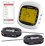 NutriChef Smart Bluetooth BBQ Grill Thermometer w/ Digital Display - Stainless Dual Probes Safe to Leave in Outdoor Barbecue Meat Smoker - Wireless Remote Alert iOS Android Phone WiFi App - PWIRBBQ80