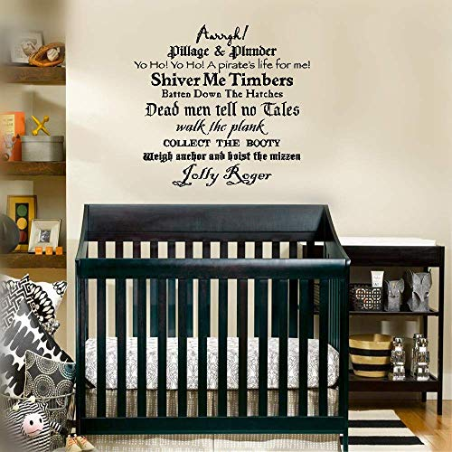 (Hesiu Quotes Vinyl Wall Art Decals Saying Words Removable Lettering Shiver Me Timbers Batten Down The Hatches for Nursery Kids Room Boys Girls Room)