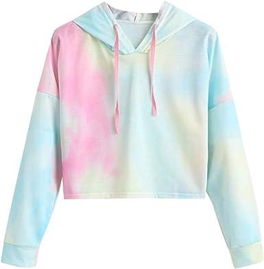 Womens Hoodies Casual Hooded Tie Dyes Print Sweatshirt Loose Drawstring Pullover Tops