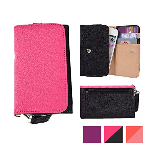 Cooper Cases(TM) Glamour Women's Clutch Universal Asus PadFone E/PadFone S/Pegasus/Zenfone 2E Smartphone Wallet in Hot Pink & Black (Wrist Strap, Credit Card/ID Slots, Slip & Zipper Pockets) ()
