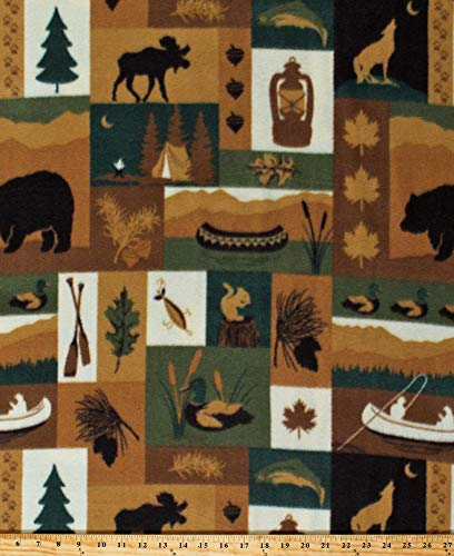 Bears Canoe Northwood (Fleece Northwoods Patch Moose Bears Canoes Fishing Camping Cabin Nature Brown Green Fleece Fabric Print by The Yard (A346.10))