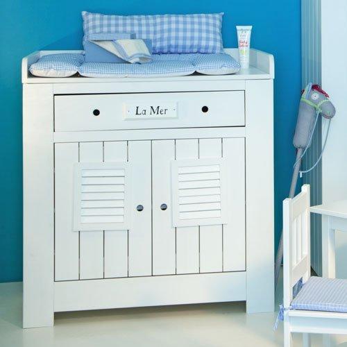lounge-zone Wickelkommode Kommode inkl. Wickelaufsatz LA MER weiß skandinavisches Design 1 Schublade 2 Türen 1085