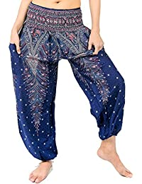 Bohemian Clothes Smocked Waist Peacock Prints Harem Pants, Perfect for Yoga, Mens, Women, One Size Fits Most