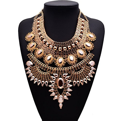 NABROJ Bling Chunky Gold Bib Necklace, Gold Tone Collar Chain Flower Crystal Pendant Necklace 1Pc-HL23 Gold