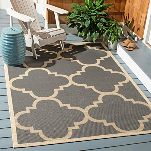Safavieh Courtyard Collection CY6243-246 Grey and Beige Indoor/ Outdoor Square Area Rug (4' Square) (Chevron Target Rug)