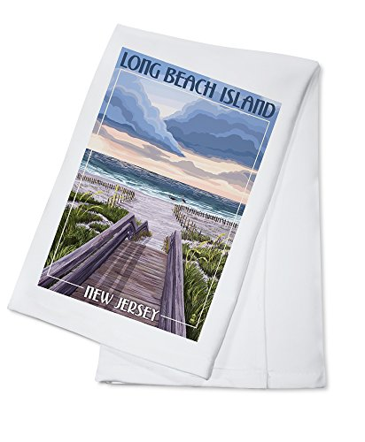 Long Beach Island, New Jersey - Beach Boardwalk Scene (100% Cotton Kitchen Towel)