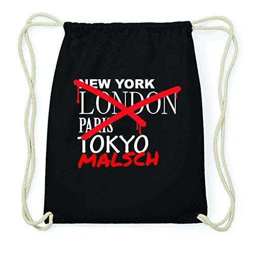 JOllify MALSCH Hipster Turnbeutel Tasche Rucksack aus Baumwolle - Farbe: schwarz Design: Grafitti