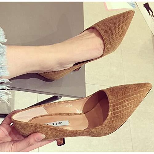 ZHZNVX Zapatos de Mujer Suede Spring & Fall Comfort/Basic Pump Heels Stiletto Heel Black/Brown / Green Brown