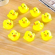 Top-Spring 10Pcs Baby Bathing Bath Tub Toys Mini Rubber Squeaky Squeeze sounding Float Duck Yellow