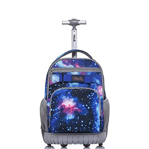 Tilami Rolling Backpack 18 inch for School Travel Blue Galaxy