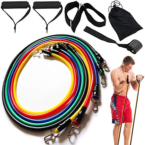 KSINGO Exercise Resistance Bands Set Stackable Exercise Bands with Door Anchor, Handles, Waterproof Carry Bag, Legs Ankle Straps for Home Workouts,Physical Therapy,Gym Training,Yoga