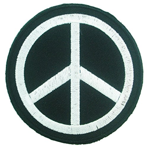 Peace Sign Black and White Logo Iron on Embroidered Patches