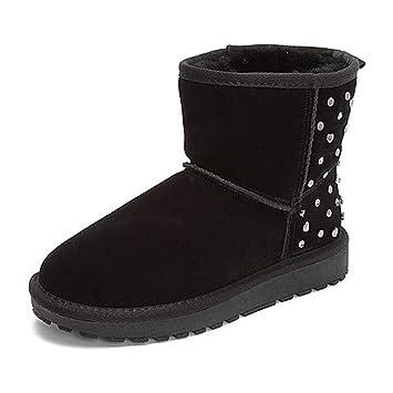 Botas Calzado Martin Botines para Mujer Botines Planos Botines Que se adaptan a Toda tu Ropa Deportes de Invierno (Color : Black, Size : 34): Amazon.es: ...