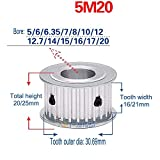 5M 20T Timing Pulley Without Step Synchronous Wheel 5mm Pitch 8mm Bore For 15mm Width Belt