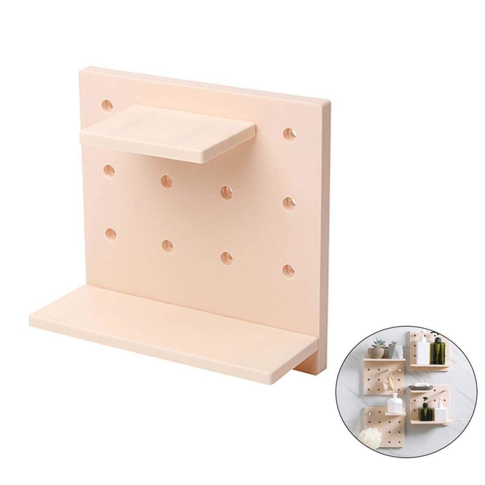 KOBWA Wandregal, mit Kunststoff-Lochplatte, Wandmontage, Regalbretter, hängend, Nicht beschädigende Regale für Wohnzimmer, Küche, Schlafzimmer grau