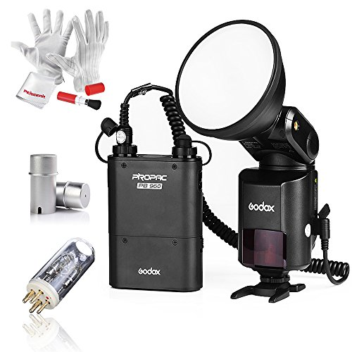 Godox AD360II-C 360Ws GN80 TTL Speedlite Flash with Built-in Godox 2.4G Wireless X System, Extra Bare Bulb, Flash Tube Protector and 4500mAh Battery Pack for Canon