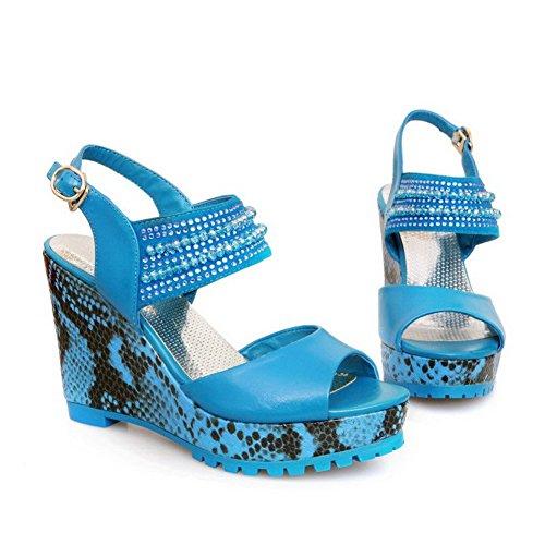 AllhqFashion Mujeres Hebilla Plataforma Cuero De Vaca Sólido Peep Sandalia Azul
