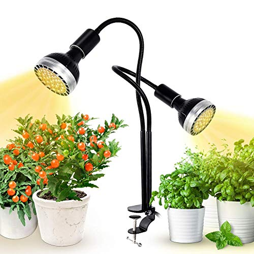 Full Spectrum Grow Light, Kolem LED Grow Lamp for Indoor Plants 300W Equivalent with CREE COB, Cellular Lens, C-Clamp, Adjustable Gooseneck, 4 Dimmable Options, 2 Independent Lamps